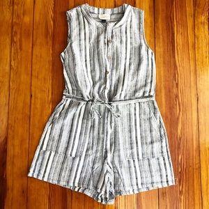 striped linen romper